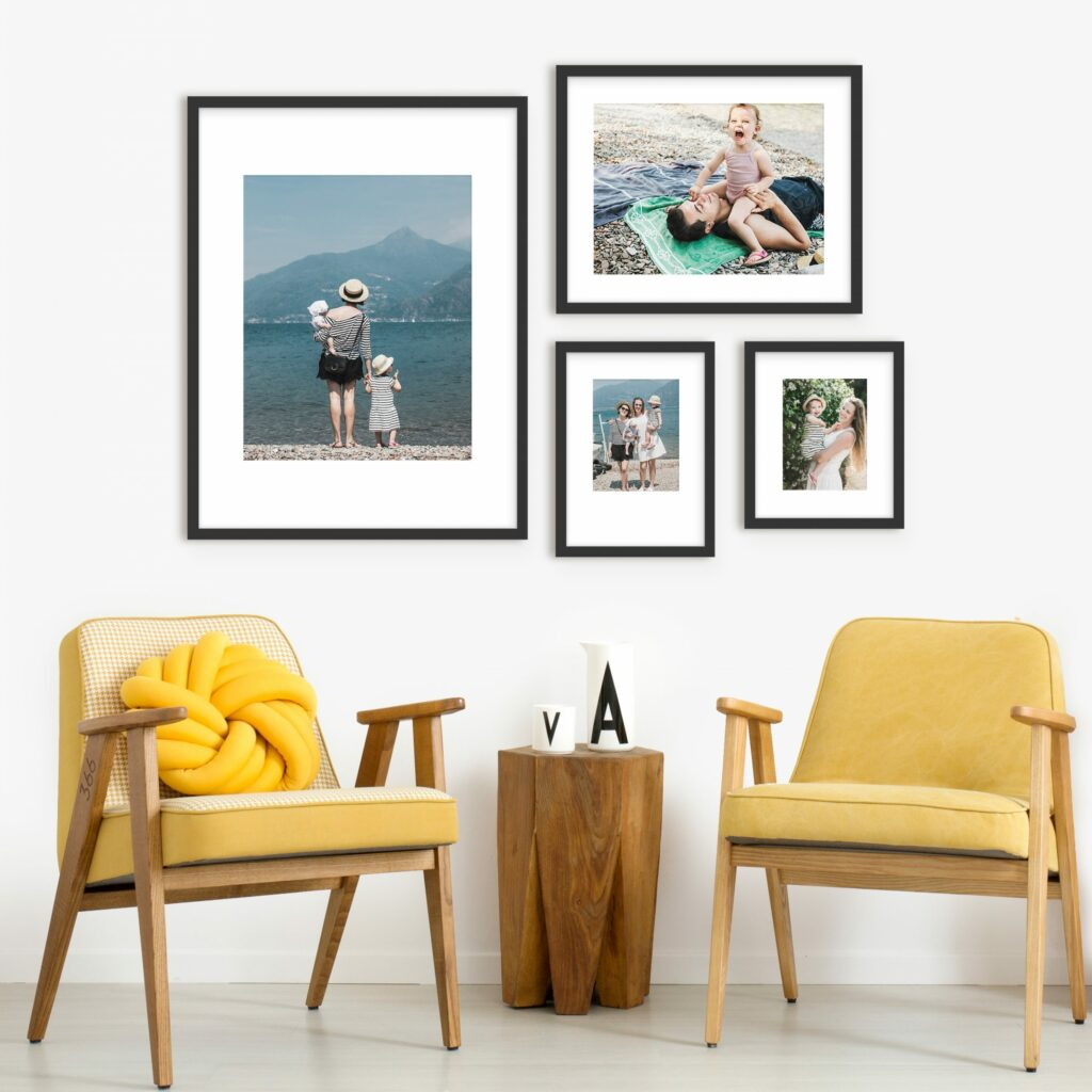 shifted gallery wall black frames