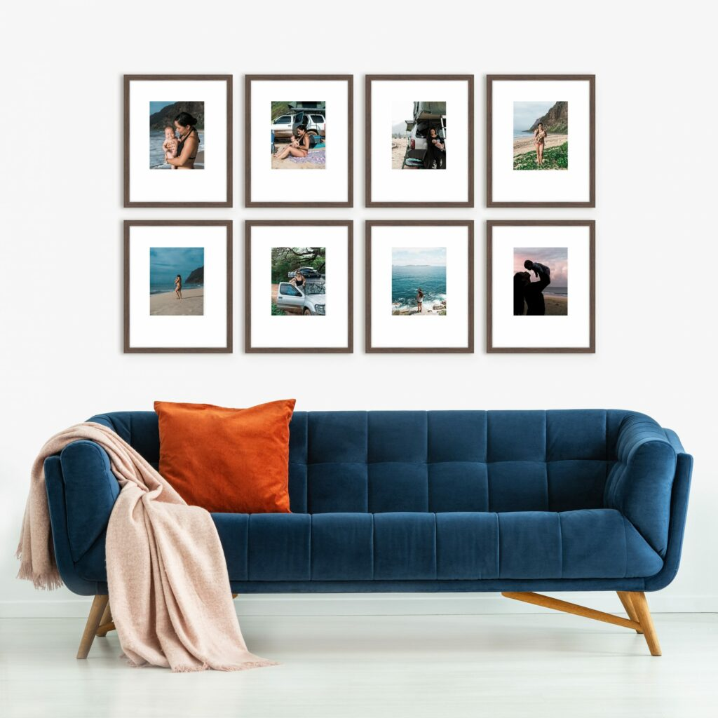 Wide Grid Gallery Wall Photo series framed photography wall art decor