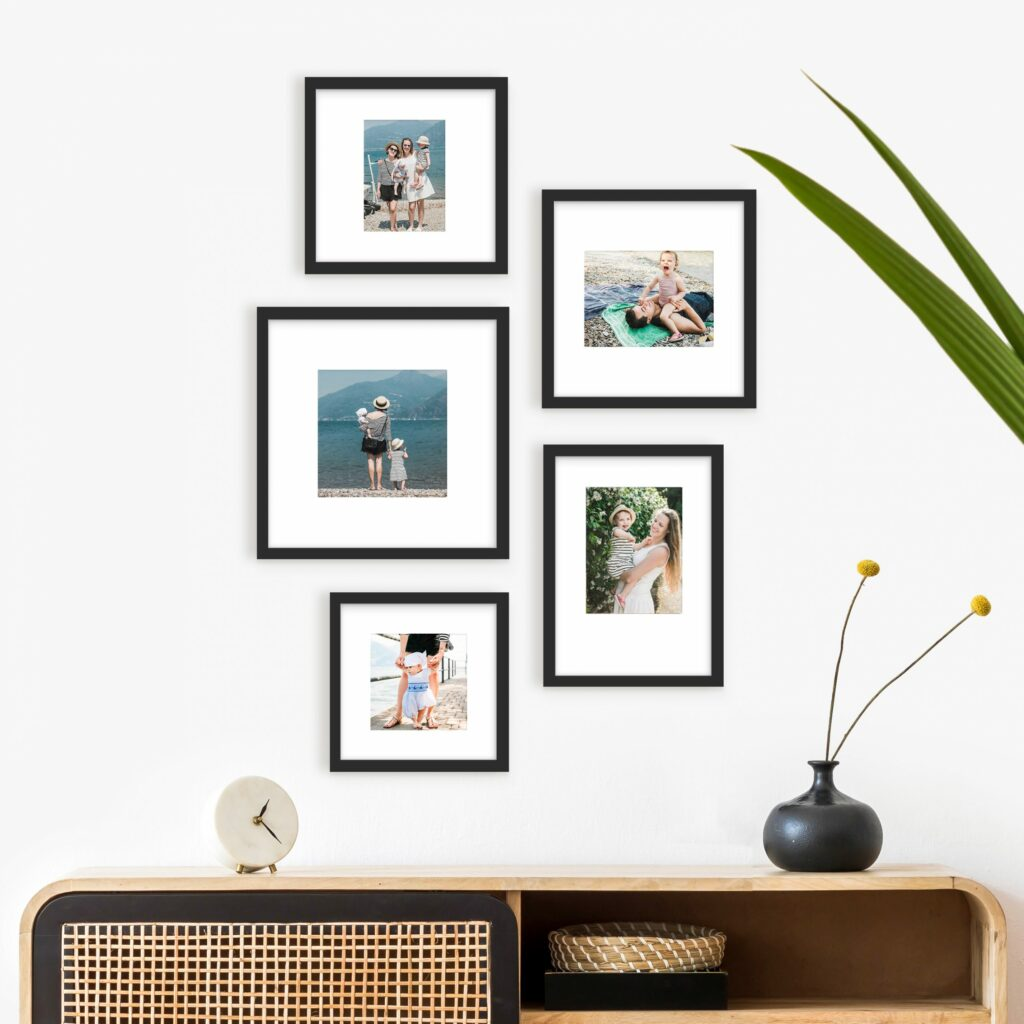 black frame gallery layout frame wall art home decor