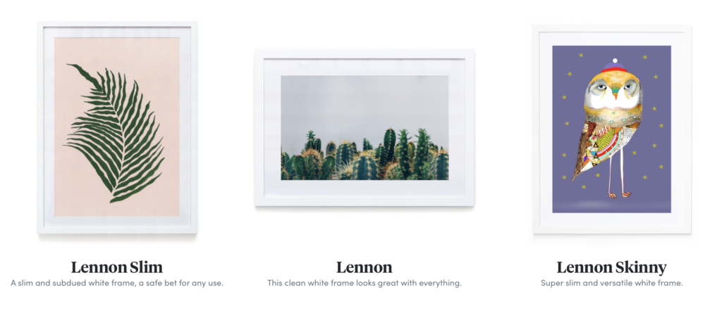 white frame framing styles