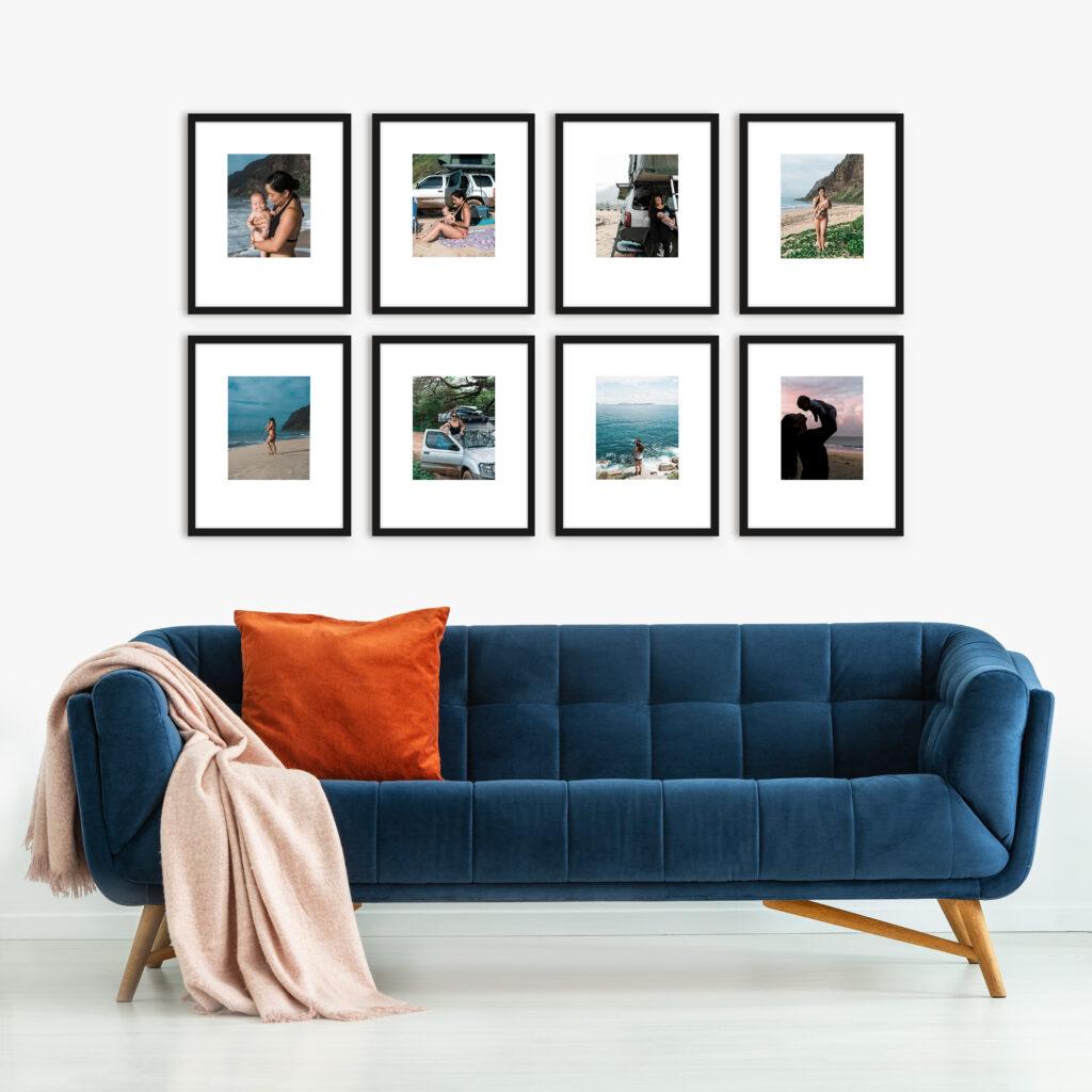 Wide Grid Family Photos Print and Frame Custom Framing Framefox