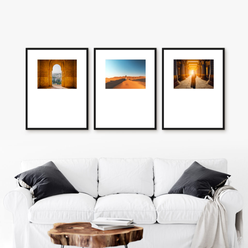 Frame travel photos triptych gallery wall series picture frames